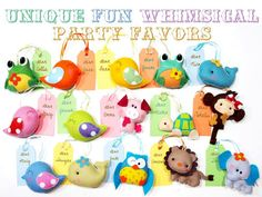 Set of 4 Custom Fun Animals Party Favors Pocket por GiftsDefine