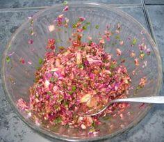 Marinated dandelion salad option 2 has French dressing.