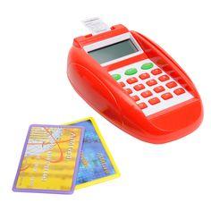 Mooie pinapparaat met een pinpas en een creditcard. Het pinapparaat is tegelijkertijd een rekenmachine.