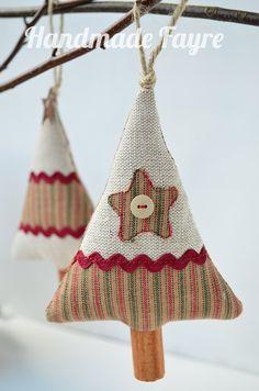 2 Cinnamon Stripe Fabric Christmas Trees by handmadefayre on Etsy, £9.50