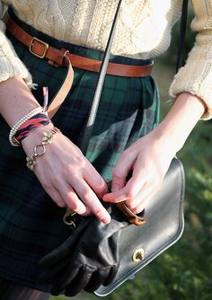 plaid skirt, irish wool sweater, leather belt and striped wrap bracelet (https://kieljamespatrick.com/index.php/product/783)