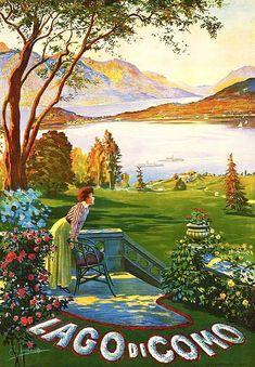 Global Gallery 'Lago di Como' by Elio Ximenes Framed Vintage Advertisment Vintage Italian Posters, Vintage Travel Posters, Vintage Postcards, Foto Poster, A4 Poster, Poster Wall, Poster Retro, Travel Ads, Photo Vintage