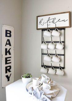Coffee Mug Wall Rack, Coffee Mug Storage, Coffee Mug Display, Coffee Mug Holder, Mug Rack, Coffee Mugs, Coffee Shops, Diy Kitchen Storage, Wall Storage