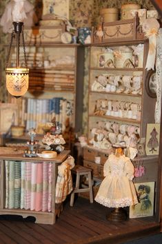 Amazing detail ~ Miniature Fabric and notions store in 1/12 scale by Nono mini Nostalgia