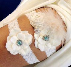 Garter, Bridal Garter, Bridal Garter Set, Wedding Garter, Ivory Dupani Silk and Blue Swarovski Crystals. $45.95, via Etsy.