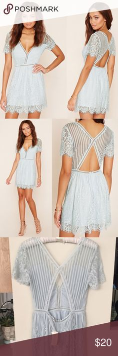 NWT Cloud blue eyelash lace open back mini dress Brand new with tags open back eyelash lace mini dress in cloud blue from Forever 21. Super feminine and pretty, zipper in back. Very similar to For Love or Lemons and Lovers + Friends. Runs a little bigger than some F21 items - it's a true size Small. Mint condition. Forever 21 Dresses Mini
