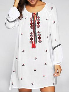 Tassels Embroidered Peasant Dress - WHITE ONE SIZE