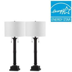 Safavieh Estilo Column 35.25 in. Black Table Lamp (Set of 2) LIT4304A-SET2 at The Home Depot - Mobile