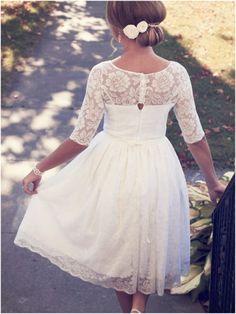 Love the idea of a lace top wedding dress. I kinda really like this length too.