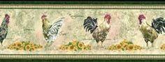 Green Rooster Wallpaper Border MW30221B