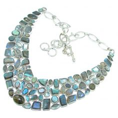 Solid 106 grams Genuine Fire Labradorite Sterling Silver handcrafted Necklace