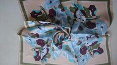 Pure Silk Square Scarf - Retro Floral Design - Perfect Unused Vintage Stock from 1980s by JohnTjadenScarves on Etsy