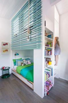 9 Loft Beds for Teens Photo for a Beach Style Kids with a Woven Roman Shades