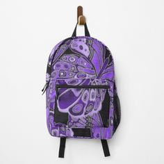 """""""Purple and Black Butterfly Pattern"""" Backpack by HavenDesign   Redbubble Butterfly Pattern, Purple And Black, Fashion Backpack, Clutches, Lilac, Backpacks, Stuff To Buy, Bags, Color"""