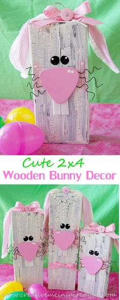 50 DIY Easter Crafts for AdultsWe just published our Easter Craft Ideas for Kids… - Crafts 2019 Spring Crafts, Holiday Crafts, Holiday Fun, Festive, 2x4 Crafts, Wooden Crafts, Bunny Crafts, Easter Crafts For Adults, Crafts For Kids