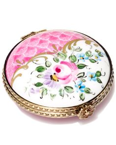 Rochard Limoges Pink Flowers Powder Compact