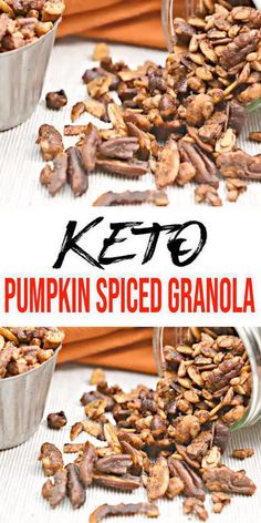 Low carb pumpkin spiced granola loved by all - easy keto recipes - keto granola clusters that are quick & simple. Keto Foods, Ketogenic Recipes, Keto Snacks, Keto Recipes, Healthy Recipes, Quick Recipes, Low Carb Granola, Granola Sin Gluten, Cereal Keto