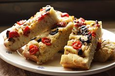 Party Focaccia Fingers with Tomatoes and Olives