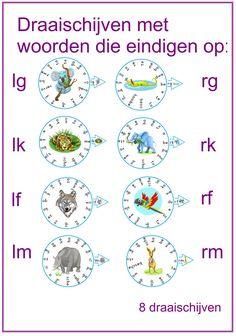 Draaischijven met de letters lg, rg, lk, rk, lf, rf, lm en rm.