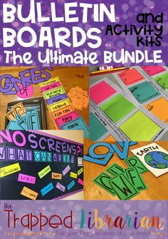Bulletin Boards for your elementary school library, classroom, or hallway! These low-prep bulletin board displays include interactive components for student engagement! Save on the bundle now! Library Activities, Social Studies Activities, History Education, Teaching History, Elementary School Library, Elementary Schools, Reading Motivation, Social Studies Notebook, Library Organization