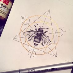 #inktober day 25. A bee in a transmutation circle! Because I love bees and I love Fullmetal Alchemist #savethebees . . . . . . . #drawing #bee #illustration #inktober2016 #sketch #ink #fineliner #bug #dailydrawing #dailysketch #dailyart #traditionalart #copic #gold #goldpaint #illustrations