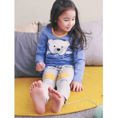 Kids Cartoon Bear Print Long Sleeve Striped Pajamas #CLICK! #clothing, #shoes, #jewelry, #women, #men, #hats, #watches