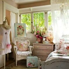 Bedroom Pretty Shabby Chic Bedrooms With Canopy Sheer Fabric And Chandelier Manekin Wicker Chair Pink Dresser