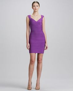 Crisscross Open-Back Bandage Dress, Bright Violet by Herve Leger at Neiman Marcus.
