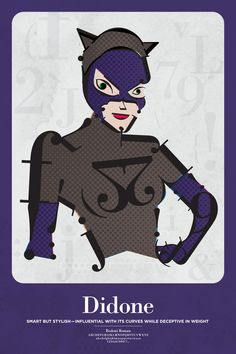 Catwoman as Didone. Superheroes as Fonts