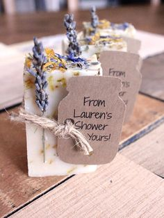 Pair scented soap bars with a handwritten tag for the perfect bridal shower favor to go along with rustic, all-natural nuptials.
