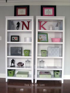 His and her shelves in the office!
