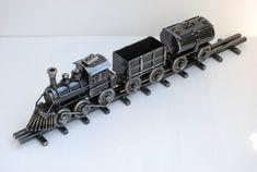 Classic Train Scrap Metal Sculpture Model Recycled Handmade
