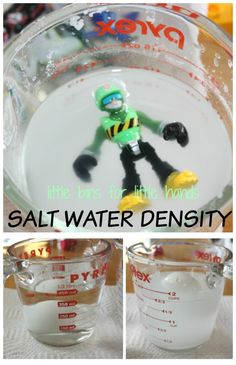 Set up a simple salt water density science experiment to explore sink and float. Salt water density science is great hands on learning play too.
