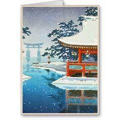 Tsuchiya Koitsu Snowy Miyajima winter scenery art Cards #oriental #christmas #winter #snow #japanese #hanga #card #tb