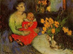 Mother and child, with a bouquet of flowers. by Pablo Picasso. 1901.