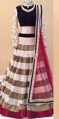 Fascinating Black And Multi-Color Net Designer Lehenga Choli With Dupatta.