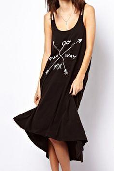 abaday Asymmetric Arrow & LETTERS PRINT BLACK DRESS