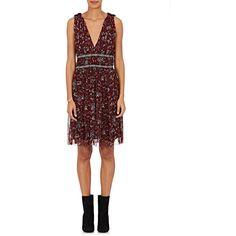 Isabel Marant Étoile Women's Balzan Floral Silk Dress ($119) ❤ liked on Polyvore featuring dresses, burgundy, embroidered dress, v-neck dresses, silk dress, white embroidery dress and v neckline dress