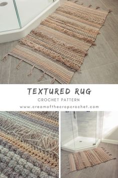 Crochet Pattern - Textured Rug: If you're looking for a bigger project to take. Crochet Pattern - Textured Rug: If you're looking for a bigger project to take on this season, check out the new Textured Crochet Rug pattern. Click t. Crochet Diy, Crochet Home Decor, Love Crochet, Crochet Crafts, Crochet Projects, Crochet Rugs, Crochet Ideas, Crochet Pillow, Knitted Rug