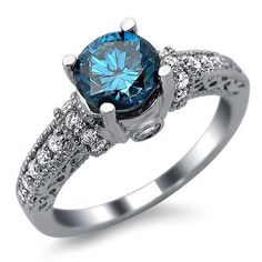 1.35ct Blue Round Diamond Vintage Engagement Ring 14k White Gold $2,150.00 (56% OFF)