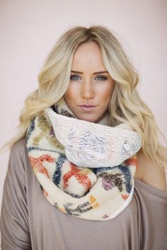 Mexican Blanket Scarf Serape Lace Infinity by ThreeBirdNest, $88.00