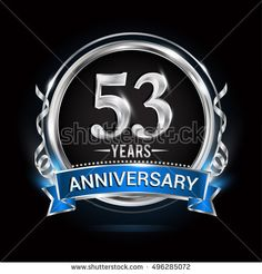 Logo celebrating 53 years anniversary with silver ring and blue ribbon.