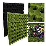 64 Pockets Vertical Planting Bag Wall Hanging Planter Bags Flower Growing Container for Yard Garden Outdoor Decor Black/Green