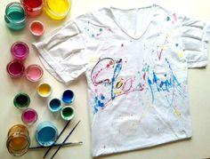DIY : customisé un tee shirt avec de la peinture acrylique. #fashion #color #custom #cleonmama