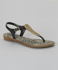 6928d6a86 Grendha Black   Gold Savannah T-Strap Sandal