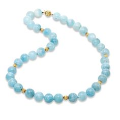 Aquamarine and 14K Gold Bead Necklace - Zales