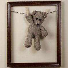 """This would be a cute way to display the kids favorite stuffed animals now that they are """"too old"""" to sleep with them! - or in a shadow box, to keep them dust-free :) Stuffed Animal Displays, Stuffed Animals, Ideas Habitaciones, Animal Crafts, Handmade Toys, Shadow Box, Pet Toys, Baby Love, Baby Gifts"""