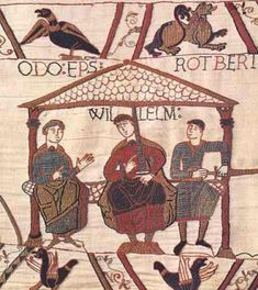 The Bayeux Tapestry showing William the Conqueror in the center, his half-brothers Robert, Count of Mortain on the right and Odo, the bishop of Bayeux in the Duchy of Normandy on the left. It is in Bayeux, France. European History, British History, Art History, Family History, Middle English, Old English, Medieval Life, Medieval Art, Bayeux Tapestry