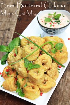 Beer Batter Calamari (Deep Fried Squid Ring/ Cumi Goreng Crispy) with Mint-Chilli Mayonaise Octopus Recipes, Squid Recipes, Duck Recipes, Garlic Recipes, Curry Recipes, Fish Recipes, Seafood Recipes, Asian Recipes, Recipies
