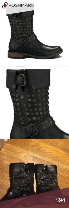 Ugg leather moto boots Ugg conor stud leather moto boots. Size 7. Has sheepskin lining on foot sole. Has metal stud details. Great boots! Zips on the inner side of foot. Great condition. UGG Shoes Combat & Moto Boots